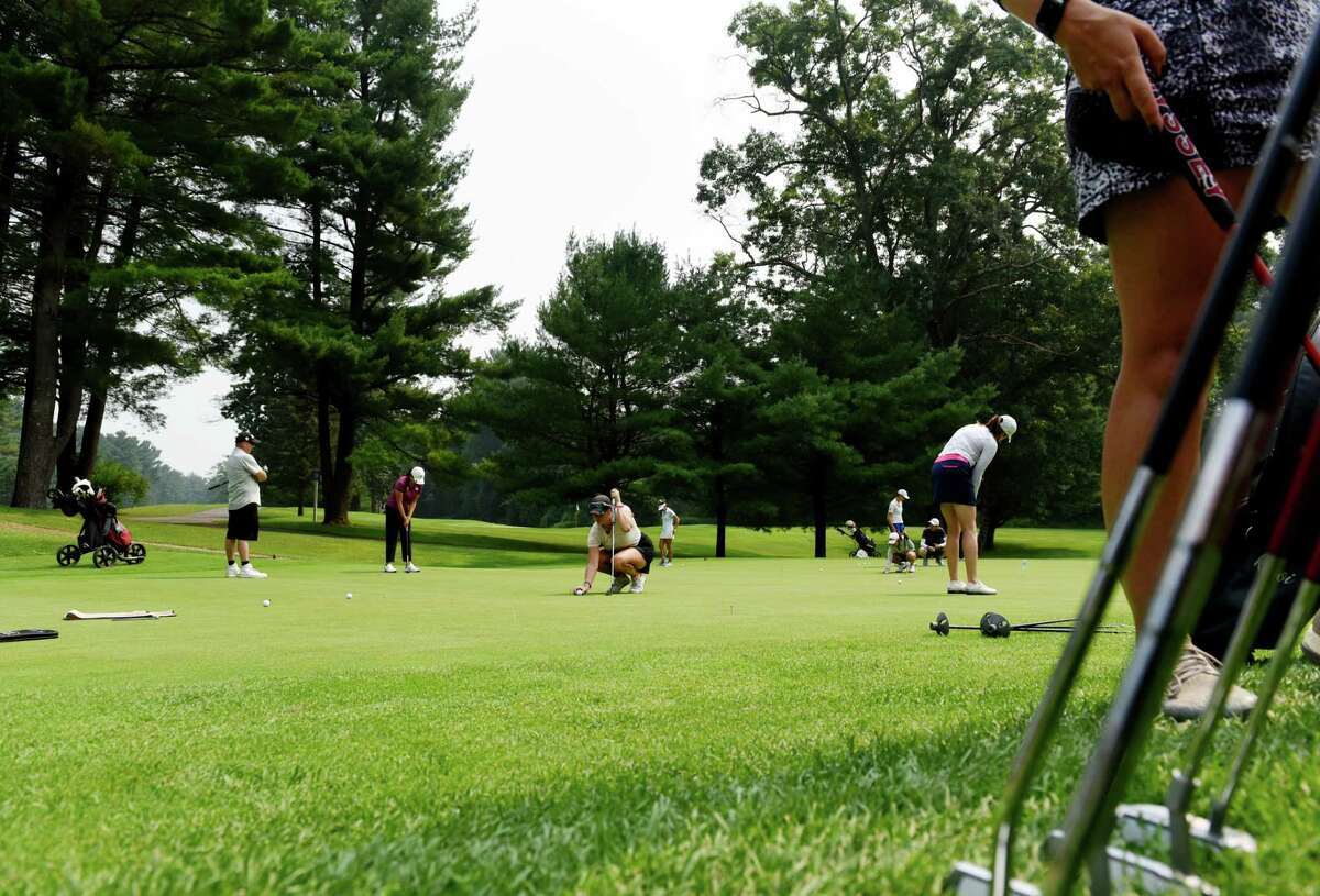 Symetra Tour players practice on the test green for the Twin Bridges Championship on Tuesday, July 20, 2021, at Pinehaven Country Club in Guilderland, N.Y. (Will Waldron/Times Union)