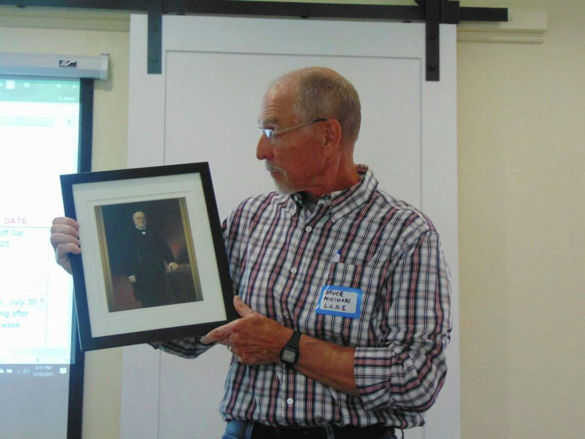 Lake County Historical Society President Bruce Micinski presented a summary of early Lake County history, and presented a picture of Gov. Baldwin, who the town is named for. (Star photo/Shanna Avery)