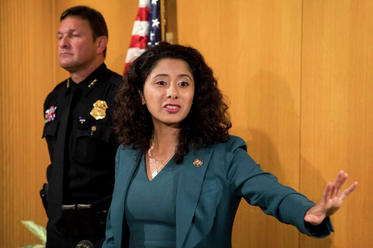 Harris County Judge Lina Hidalgo speaks about a $2.5 million proposal to add three visiting judges to eliminate the backlog in Harris County courts during a news conference Tuesday, July 20, 2021 in Houston.