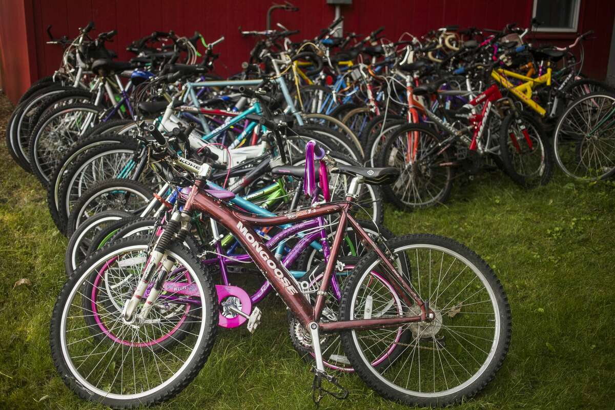 Dozens of bicycles are available as part of a program offered by Midland's Open Door which provides residents of their shelters with the opportunity to work towards owning a bicycle of their own. (Katy Kildee/kkildee@mdn.net)