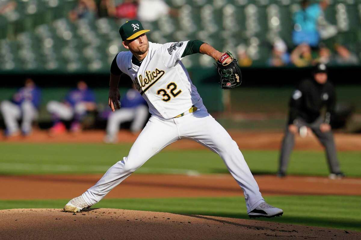 Oakland Athletics pitcher James Kaprielian against the Texas Rangers during a baseball game in Oakland, Calif., Tuesday, June 29, 2021. (AP Photo/Jeff Chiu)