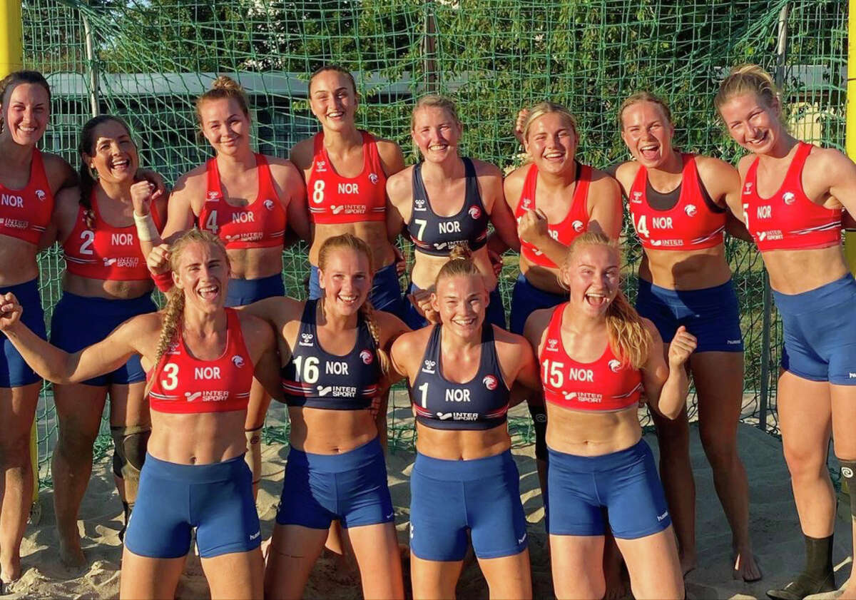 An undated photo provided by the Norwegian Handball Federation of Norway?•s women?•s beach handball team, which was fined by the European Handball Federation after wearing shorts instead of bikini bottoms during a bronze medal game against Spain at the European Beach Handball Championships in Varna, Bulgaria. The players, who were each fined 150 euros (about $177), had been planning for weeks to flout the rules to highlight a double standard for female athletes. (Norwegian Handball Federation via The New York Times) -- NO SALES; FOR EDITORIAL USE ONLY WITH NYT STORY HNB NORWAY WOMEN BY JENNY GROSS FOR JULY 20, 2021. ALL OTHER USE PROHIBITED. --