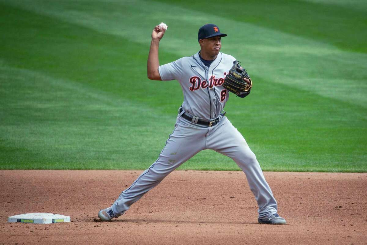 In this Sept. 4, 2020, file photo, Detroit Tigers second baseman Jonathan Schoop turns a double play against the Minnesota Twins during a baseball game in Minneapolis. Schoop isone of the most likely candidates to be traded this month if Detroit decides to sell at the trade deadline.(AP Photo/Bruce Kluckhohn, File)