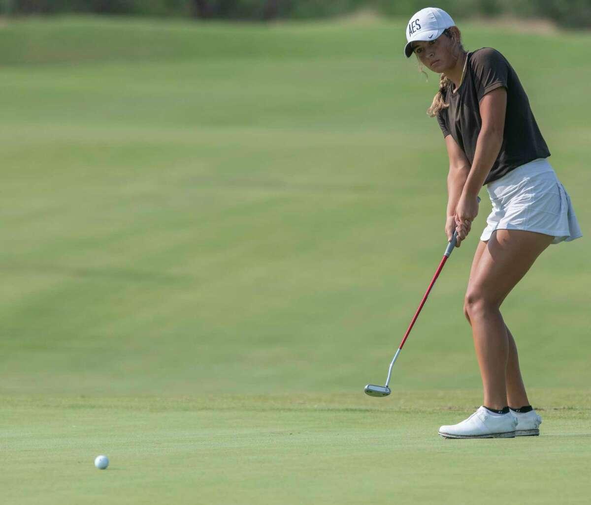 Alexandra Escamilla follows her putt 07/20/2021 during the first round of the Midland Women's City Golf Tournament at Midland Country Club. Tim Fischer/Reporter-Telegram