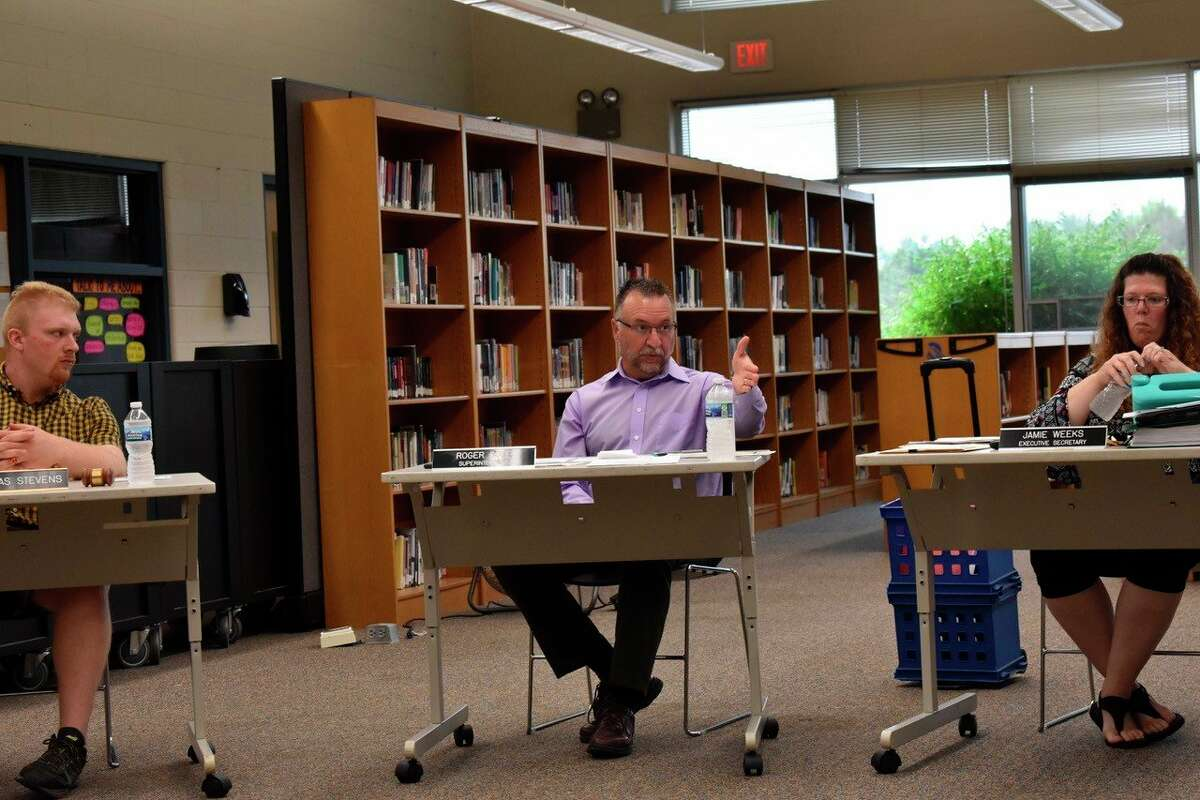 On July 19 Morley Stanwood Superintendent Roger Cole andschool board members met to discuss COVID-19 fall plans during Monday evening's meeting and highlighted the goal of having a regulation-free start to the year. (Pioneer photo/Olivia Fellows)