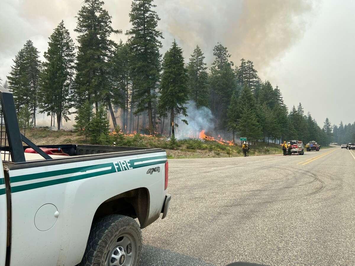 Crews battle flames near Mazama.