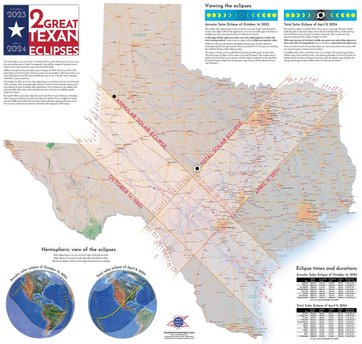 Geographer Michael Zeiler, who provides the graphics for the Great American Eclipse website, shared these maps of the April 8, 2024 total solar eclipse's path. The graphics show the eclipse's precise movement through the city.