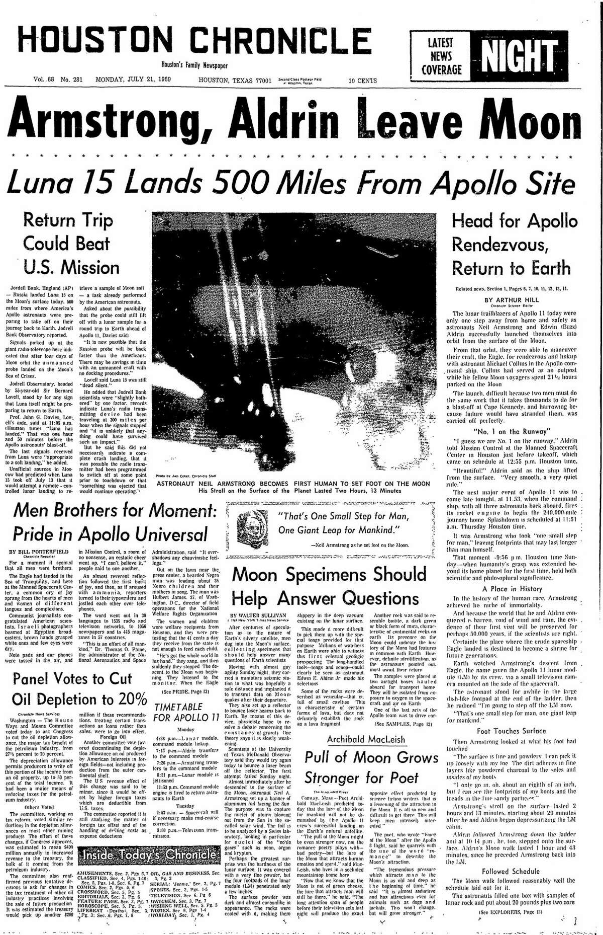 Houston Chronicle front page from July 21, 1969.