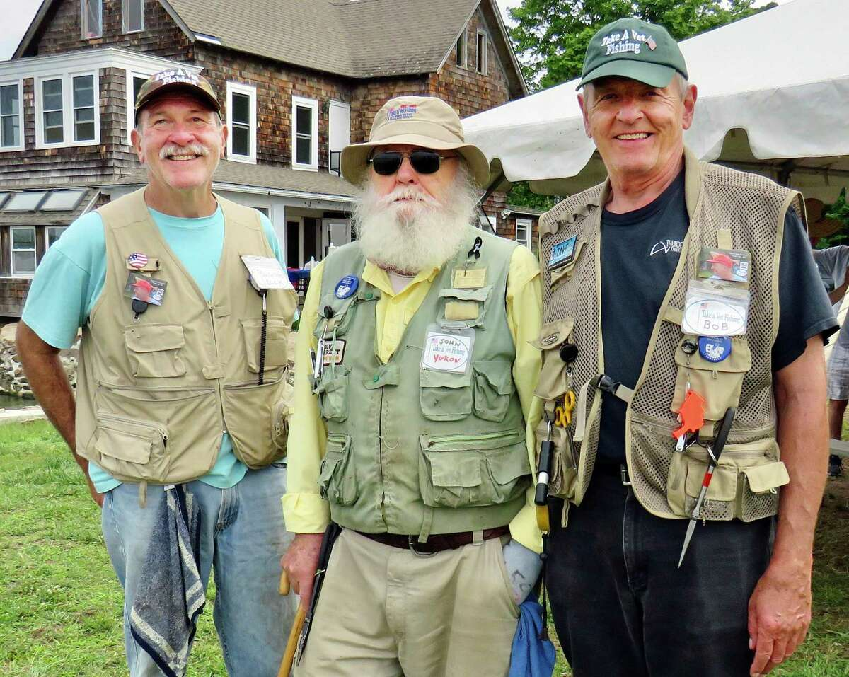 Dick Mangione, John Barr, and Bob Mangione, DEEP CARE volunteers at the Take A Vet Fishing event at Killam's Point in Branford