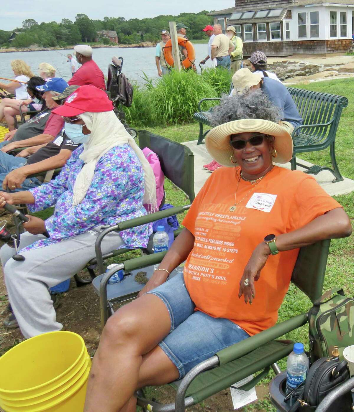 Army veteran Stephanie Covington at recent Take A Vet Fishing event at Killam's Point in Branford