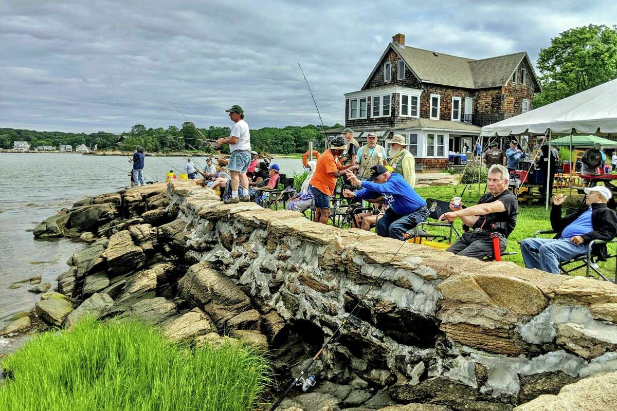 Veterans at recent Take A Vet Fishing event at Killam's Point in Branford.