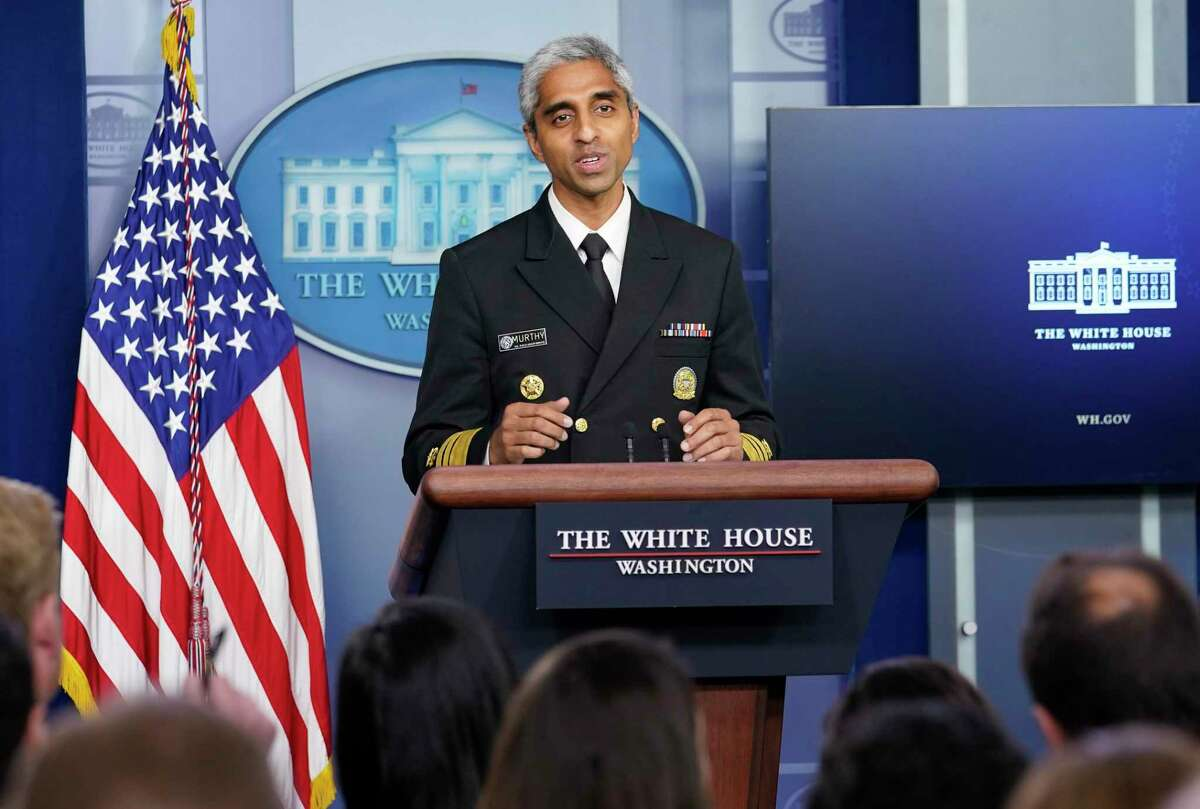In this July 15 photo, Surgeon General Dr. Vivek Murthy speaks during the daily briefing at the White House in Washington.