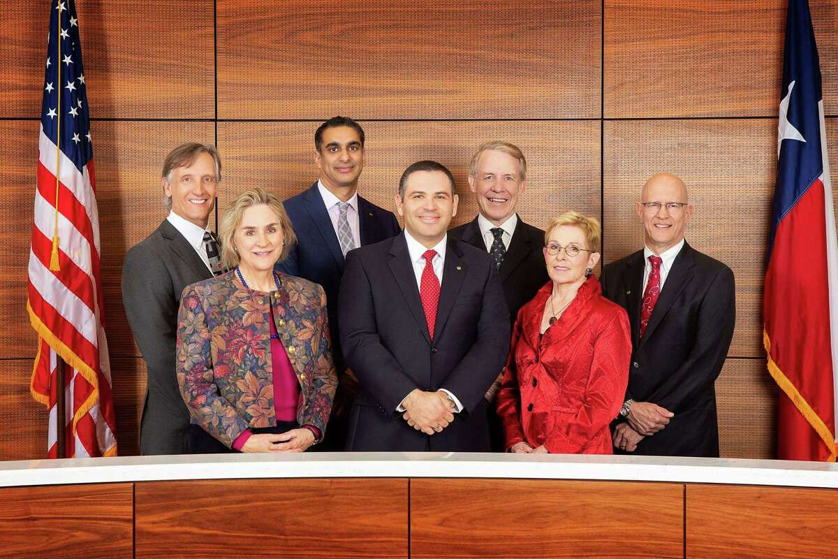 From left: Mayor Pro Tem Gus Pappas; Council Members Catherine Lewis and Neil Verma; Mayor Andrew Friedberg; and Council Members Jim Hotze, Michael Fife and Nathan Wesely.