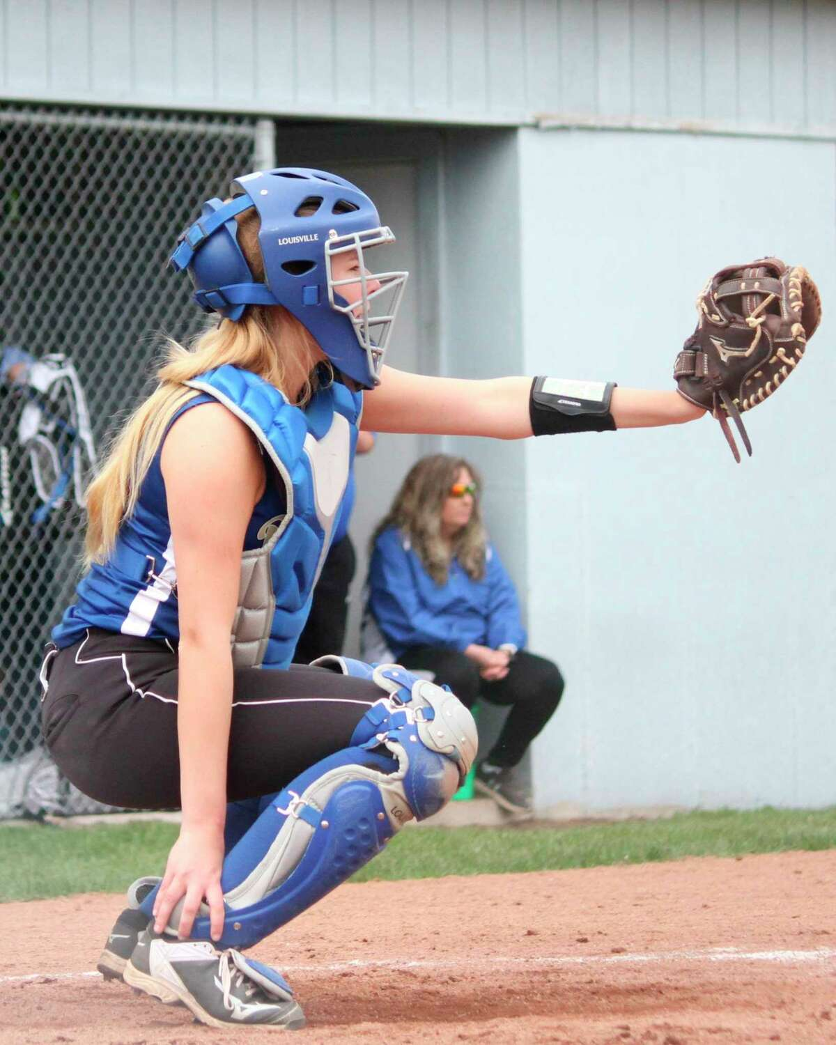 Kaylin Sam turned in an honorable mention all-conference performance behind the plate this spring for Onekama. (News Advocate file photo)