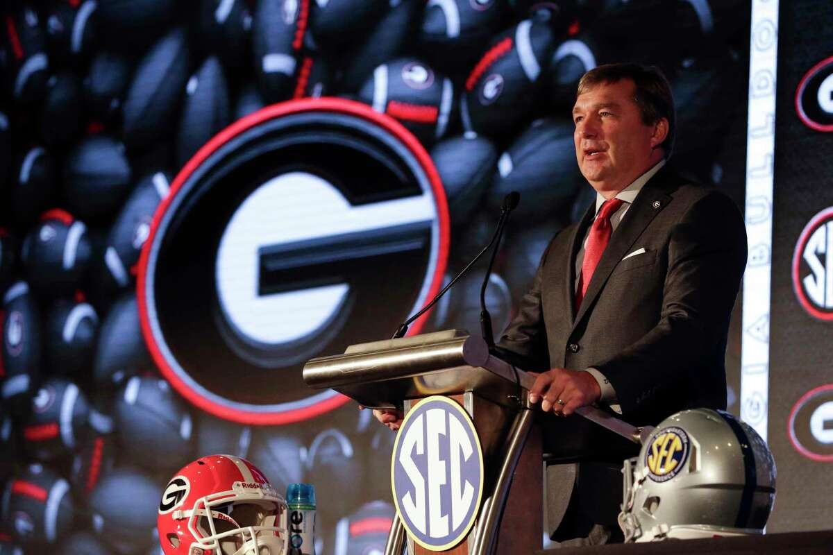 Georgia head coach Kirby Smart speaks to reporters during the NCAA college football Southeastern Conference Media Days, Tuesday, July 20, 2021, in Hoover, Ala.