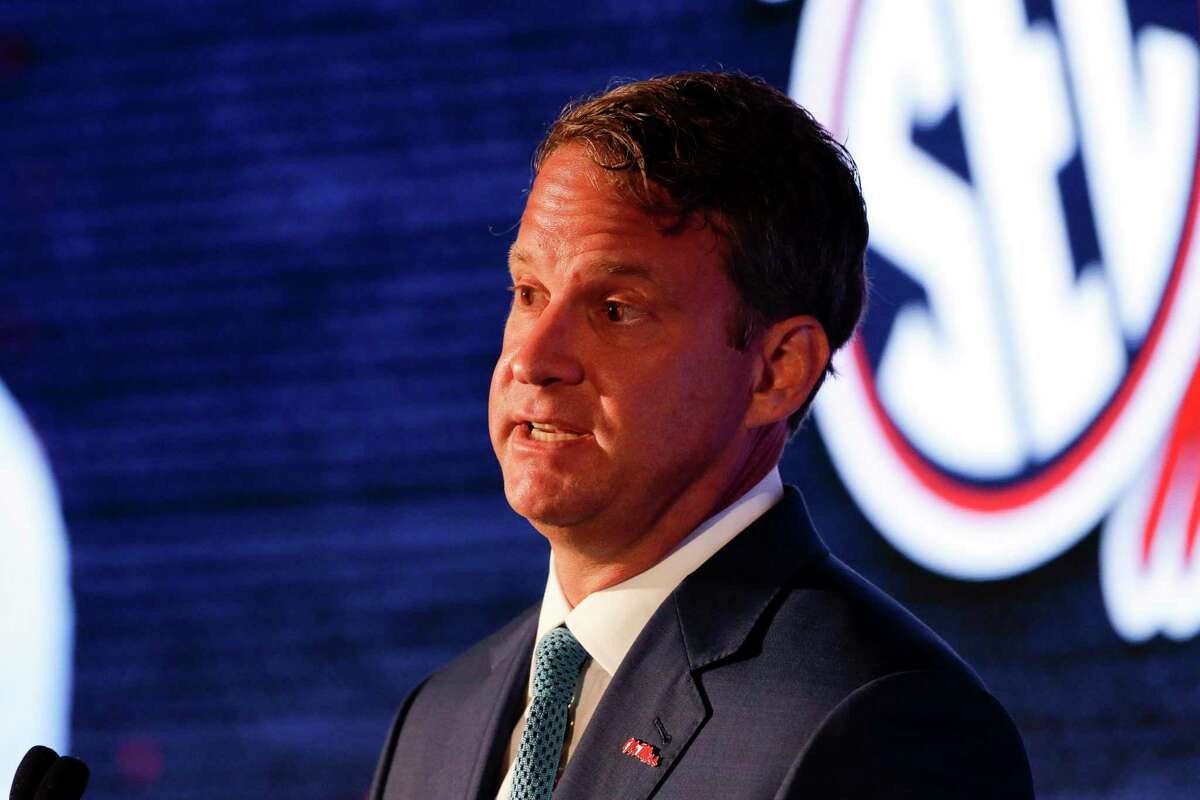 Mississippi head coach Lane Kiffin speaks to reporters during the NCAA college football Southeastern Conference Media Days Tuesday, July 20, 2021, in Hoover, Ala. (AP Photo/Butch Dill)