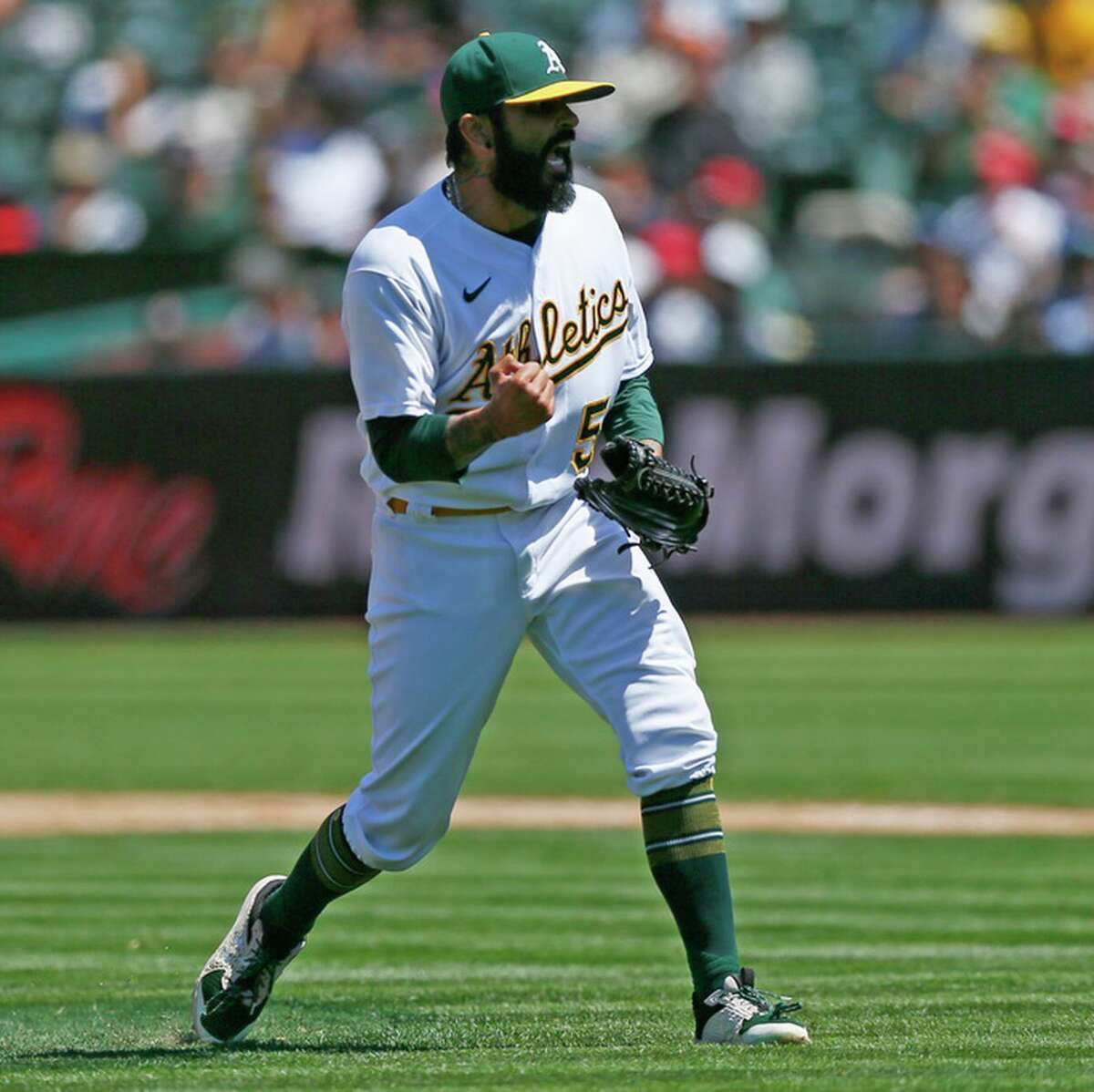 A's reliever Sergio Romo entered Thursday with a 3.93 ERA, down from 7.63 on May 23.