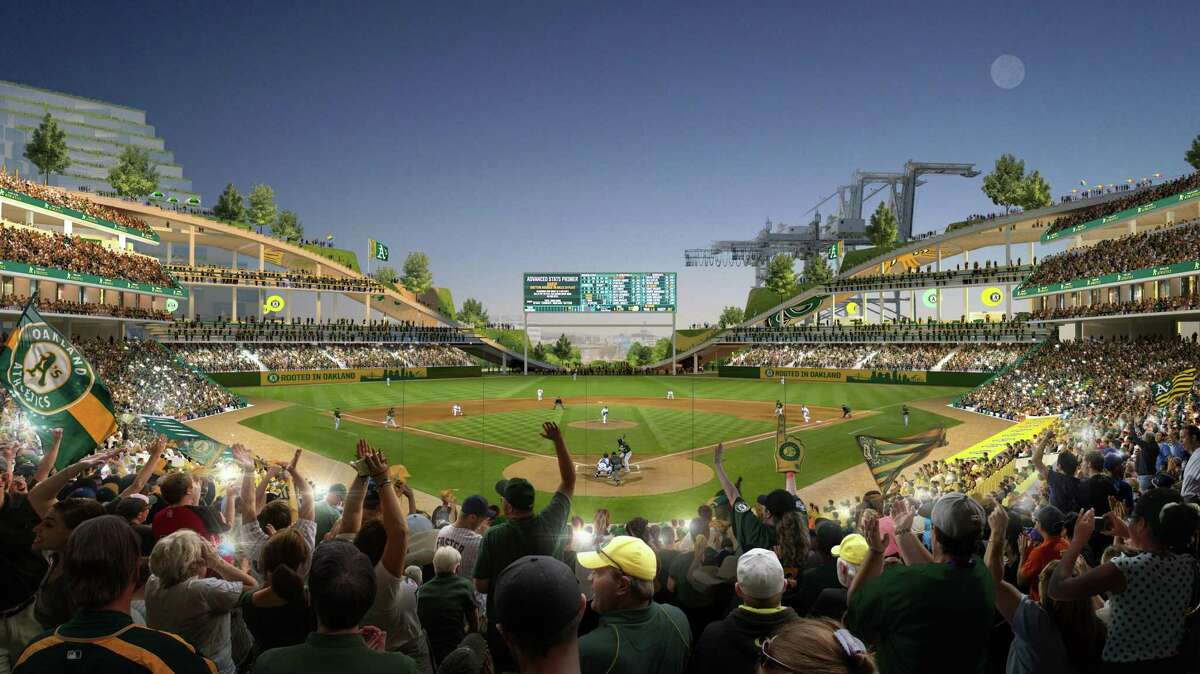 View from behind home plate of proposed new A's ballpark at Howard Terminal. It faces southeast -- away from the water -- to protect it from cold and wind.