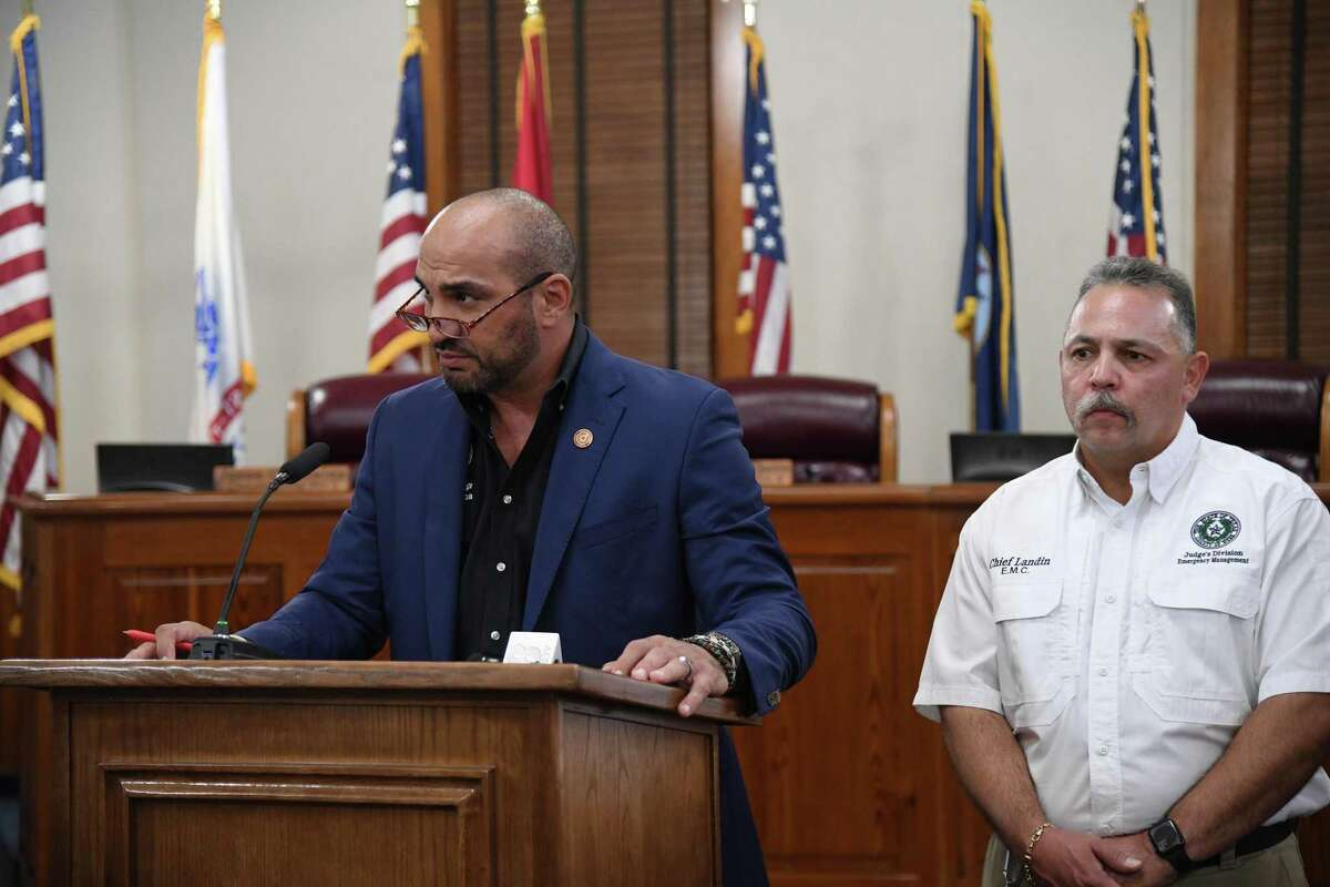 County Judge Tano Tijerina and Emergency Managmenet Coordinator Steve Landin gathered for a press conference to declare a local state of disaster and halt the incoming transportation of migrants from other CBP sectors.
