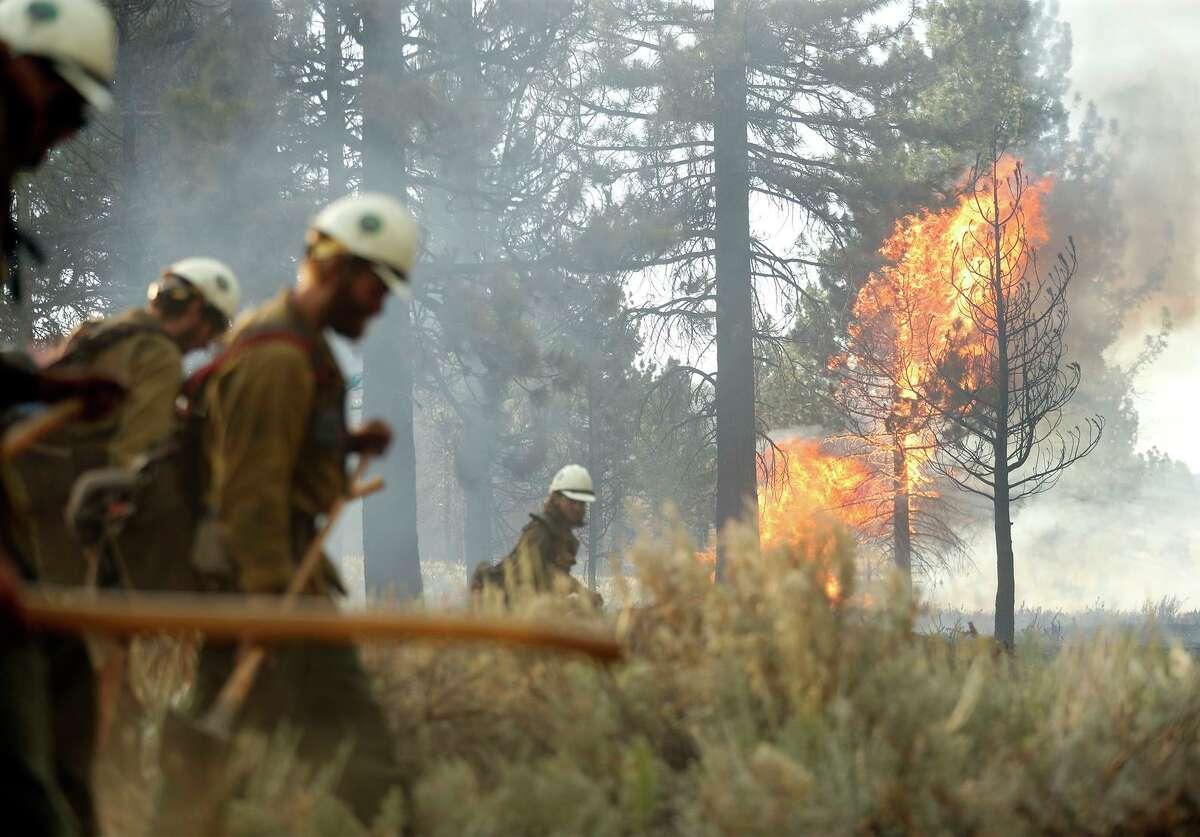 Members of the Truckee Hotshots look for embers of the Beckwourth Complex last week in Lassen County.