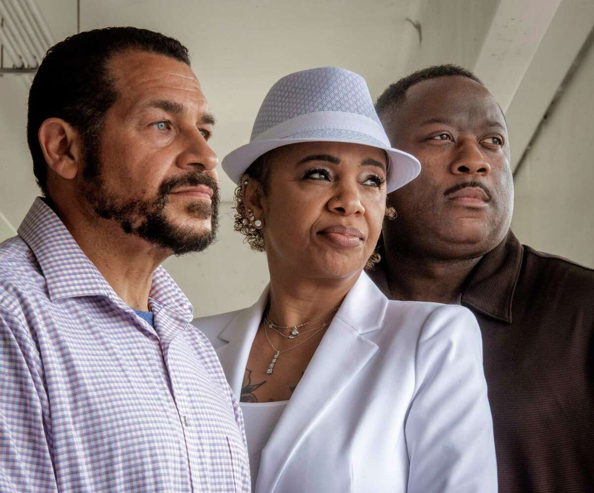 From left, Joe Perez, Sonya Zollicoffer and Lt. Thomas Boone are lead plaintiffs in a workplace discrimination lawsuit filed by Black and Latino police officers against the Prince George's County Police Department.