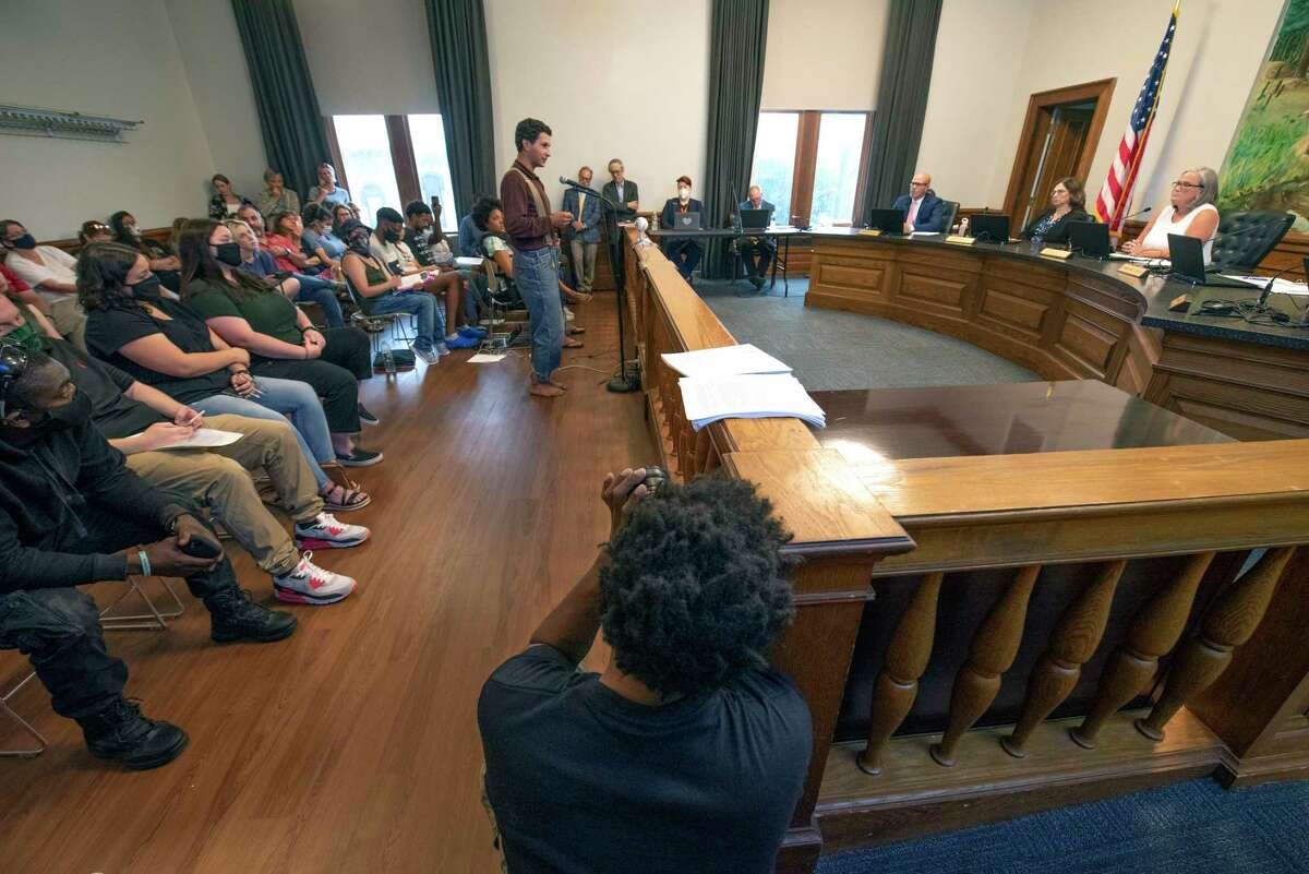 Arlo Zwicker, 18, of Saratoga Springs talks about being arrested as Black Lives Matter demonstrators fill the city council chambers and decry how they say they were treated by police at a protest last week at Saratoga City Hall on Tuesday, July 20, 2021 in Saratoga Springs, N.Y. (Lori Van Buren/Times Union)