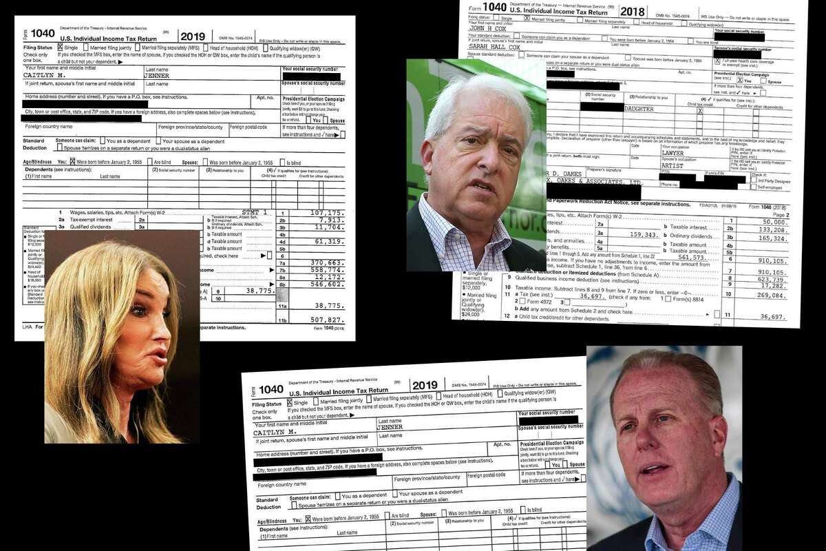 Tax returns of Caitlyn Jenner, John Cox and Kevin Faulconer. Candidate photos by Noah Berger, Rich Pedroncelli, Robert Gauthier.