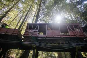 Visitors ride the scaled down Tilden Park steam train, known as the Redwood Valley Railway, across a trellis bridge through Tilden Park in Berkeley, Calif. on July 18, 2021. The train runs on a fifteen gauge track.
