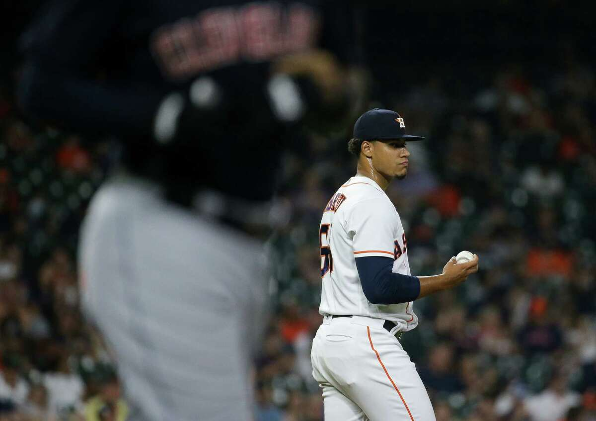 Houston Astros starting pitcher Bryan Abreu (66) after giving up a walk against Cleveland during the seventh inning of an MLB game at Minute Maid Park on Tuesday, July 20, 2021, in Houston.