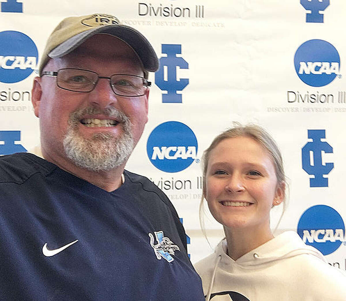 Jersey High bowler Sammie Malley with her coach, and stepfather, Chris Skinner.