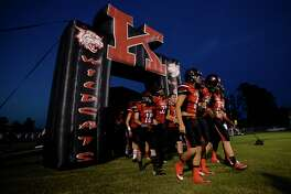 Kirbyville players prepare to run onto the field to take on Kountze at Wildcat Stadium on Friday night. Photo taken Friday 9/23/16 Ryan Pelham/The Enterprise