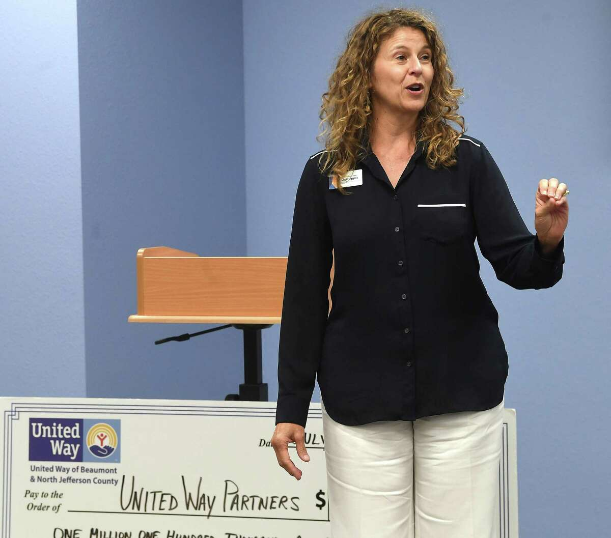 United Way allocations chair head Lori Higgins addresses partner agency representatives during their annual grants distribution Thursday. Photo made Thursday, July 15, 2021 Kim Brent/The Enterprise
