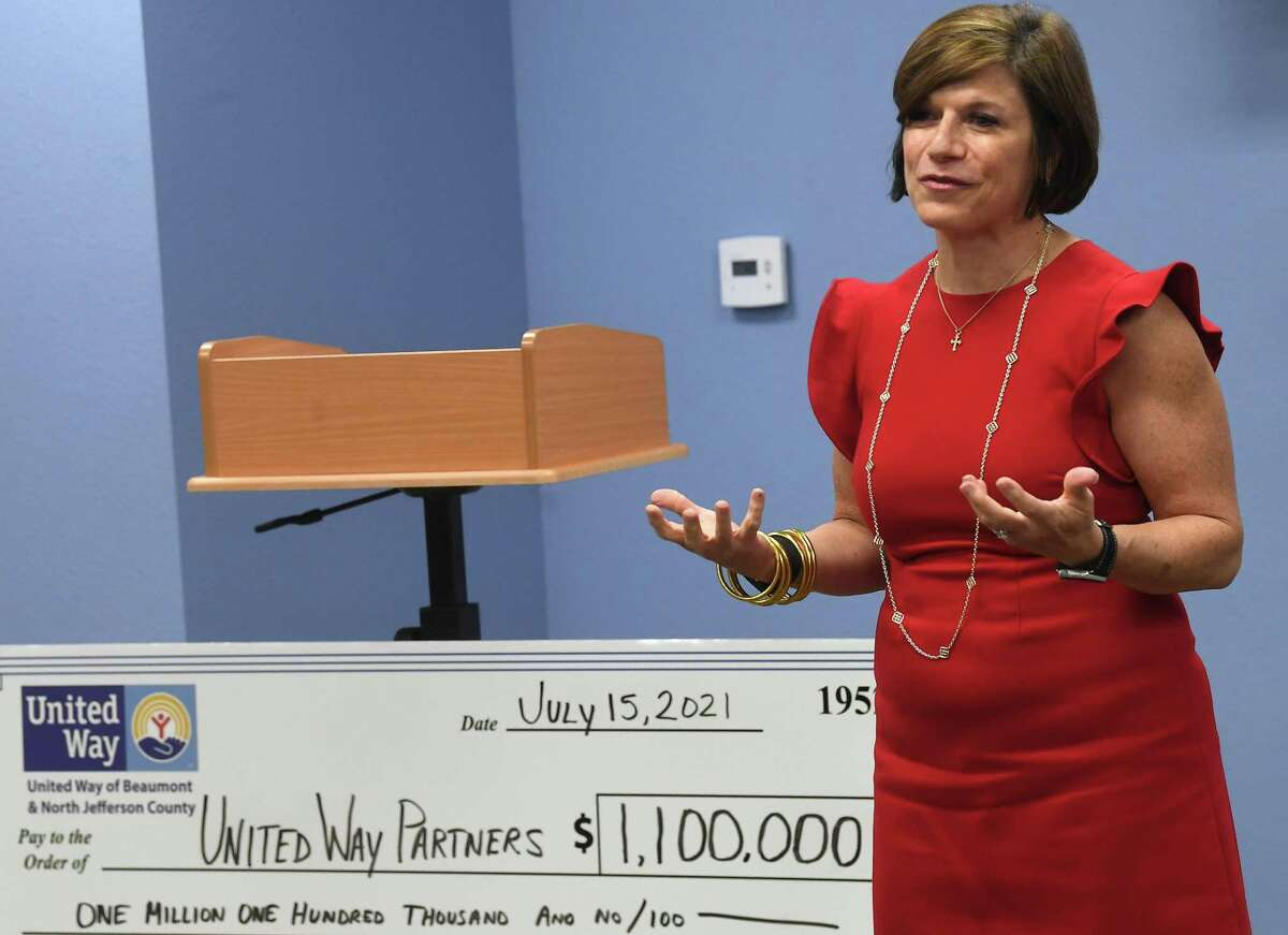 United Way CEO Karyn Husbands addresses partner agencies before their annual grants distribution event Thursday. Photo made Thursday, July 15, 2021 Kim Brent/The Enterprise