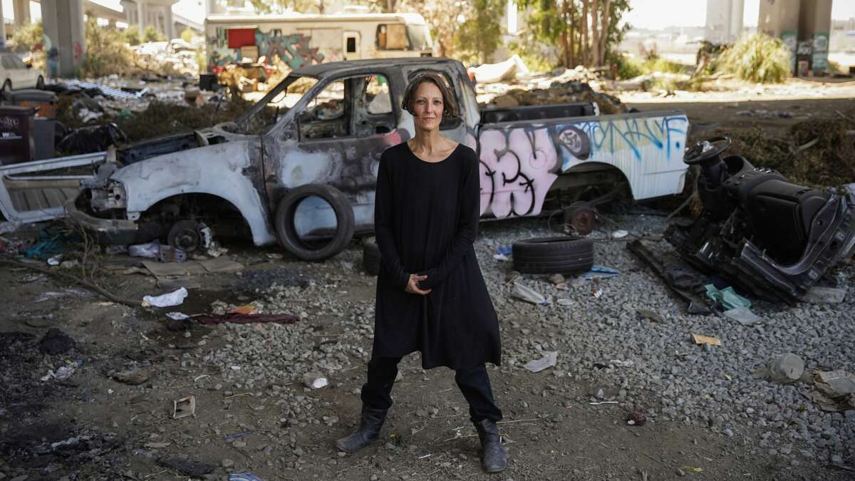 Lydia Blumberg at the Wood Street encampment in Oakland, where she lives.