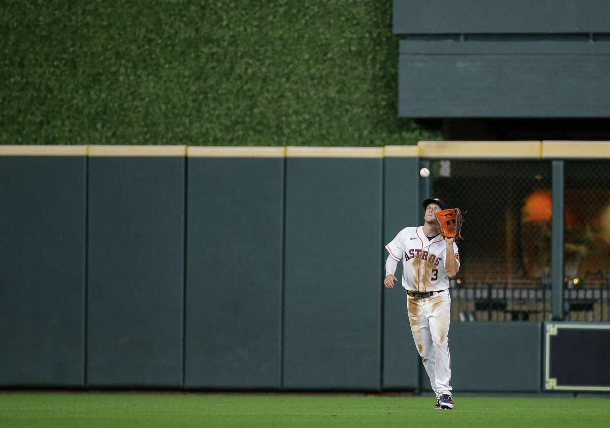 Houston Astros center fielder Myles Straw (3) makes the final out of an MLB game against Cleveland at Minute Maid Park on Tuesday, July 20, 2021, in Houston.