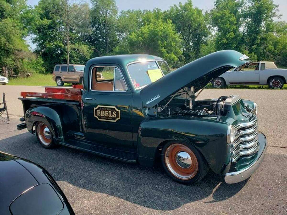 The infamous Ebels grocery truck, a 1953 Chevy owned by Eli Bromley, was the winner of the2021 Best make & model trophy during the annual Crossroads Car Club Car Show in Reed City this weekend. (Submitted photo)