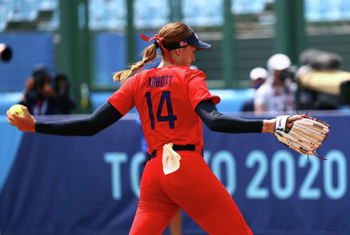 FUKUSHIMA, JAPAN - JULY 21: Pitcher Monica Abbott #14 of Team United States pitches in the seventh inning against Team Italy during the Tokyo 2020 Olympic Games at Fukushima Azuma Baseball Stadium on July 21, 2021 in Fukushima, Japan. Team United States defeated Team Italy 2-0.