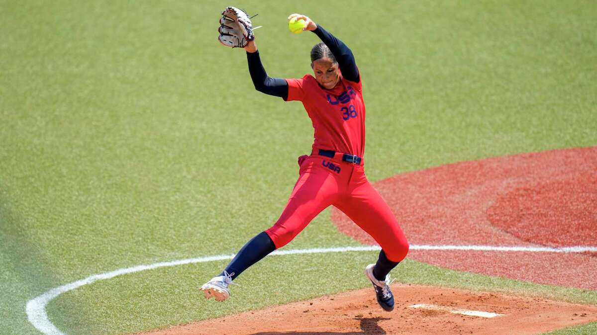 United States' Cat Osterman pitches during the softball game late Tuesday between Italy and the USA at the Summer Olympics in Fukushima, Japan.