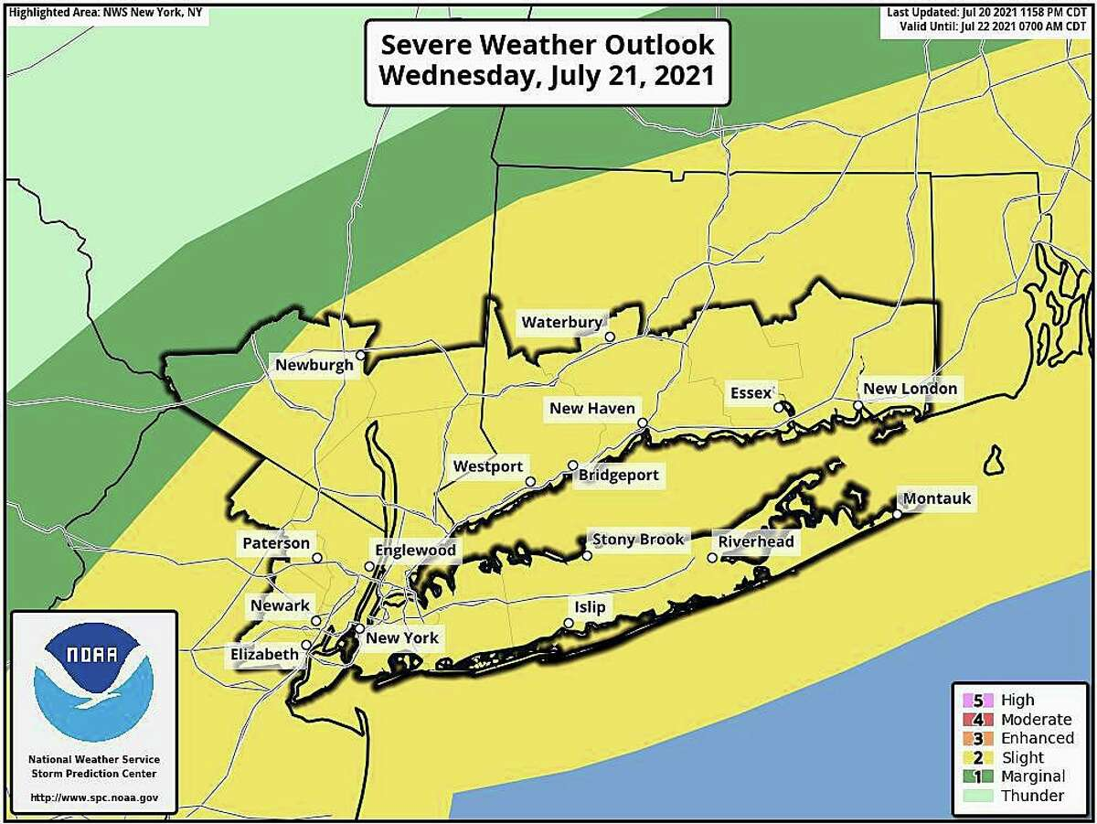 As a cold front moves through the area, Connecticut is forecast to see some rain showers and potential thunderstorms Wednesday, July 21, 2021.