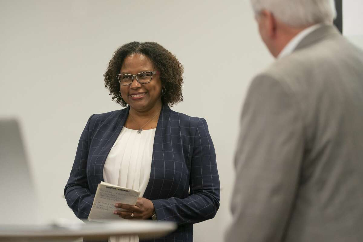 Maria Reeve celebrates as she is named the executive editor of the Houston Chronicle on Tuesday, July 20, 2021, at the Chronicle's Houston office.