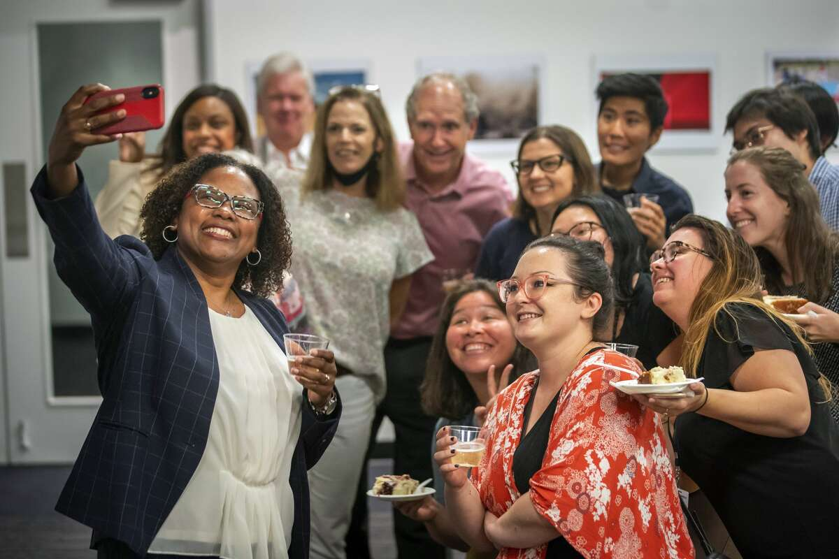 Maria Reeve celebrates as she is named the executive editor of the Houston Chronicle, Tuesday, July 20, 2021, at the Chronicle's Houston office. Reeve has served as a Pulitzer Prize juror and has been active in the National Association of Black Journalists. The South Carolina native becomes the first person of color named as editor of the 120-year-old Houston daily.