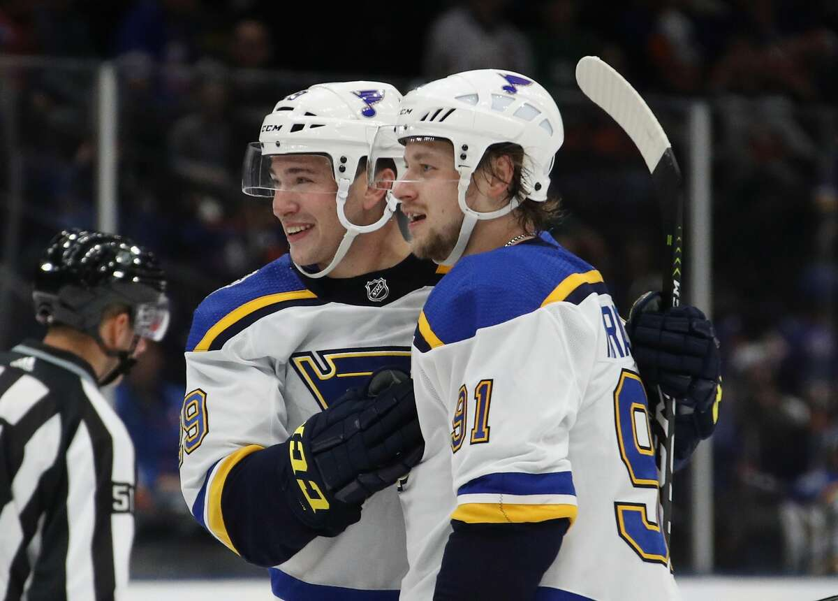 Vince Dunn #29 and Vladimir Tarasenko #91 of the St. Louis Blues skate against the New York Islanders at NYCB Live's Nassau Coliseum(Photo by Bruce Bennett/Getty Images)