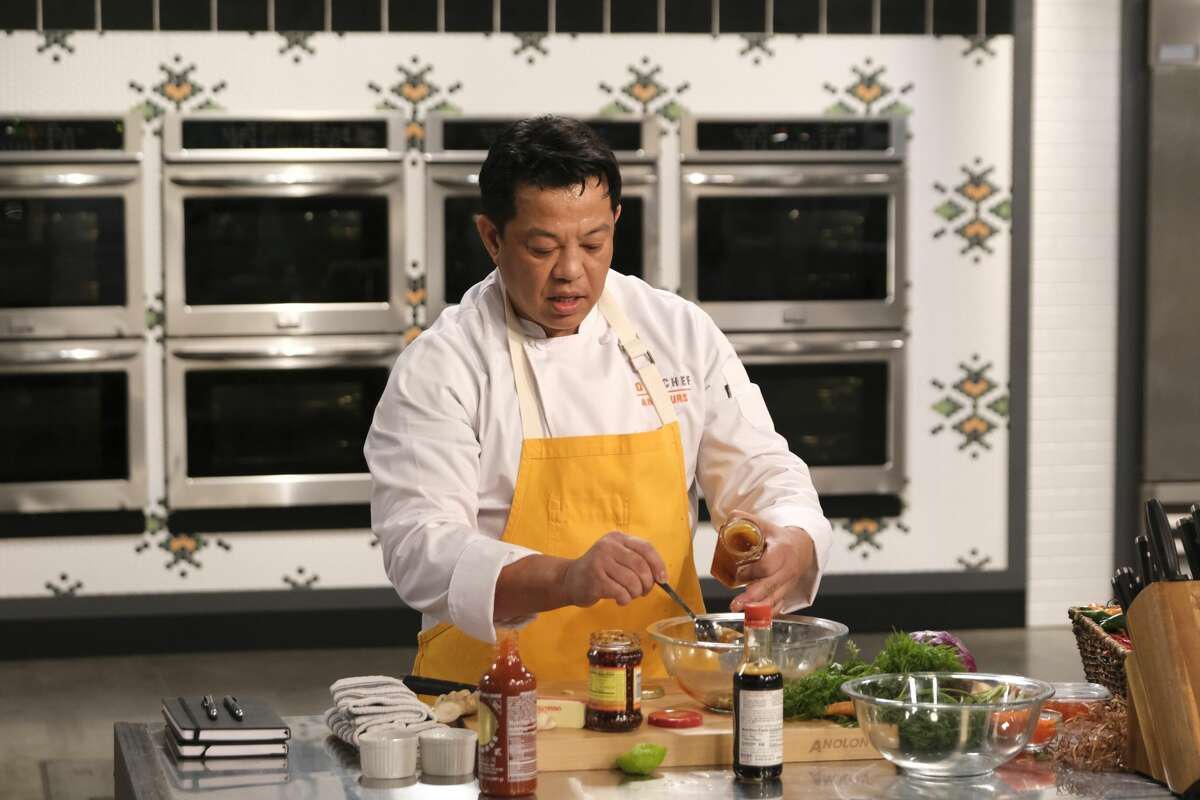 "Lorenzo Beronilla of Saugerties prepares his winning dish on his episode of ""Top Chef Amateurs."" The secret ingredient was eggs."