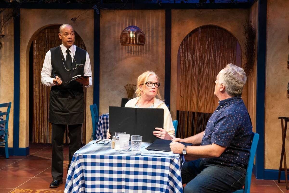 """From left, Tyrone Mitchell Henderson, Johanna Day and David Beach co-star in """"Slow Food,"""" running through July 31, 2021, at the Adirondack Theatre Festival in Glens Falls. (Jim McLaughlin/ATF.)"""