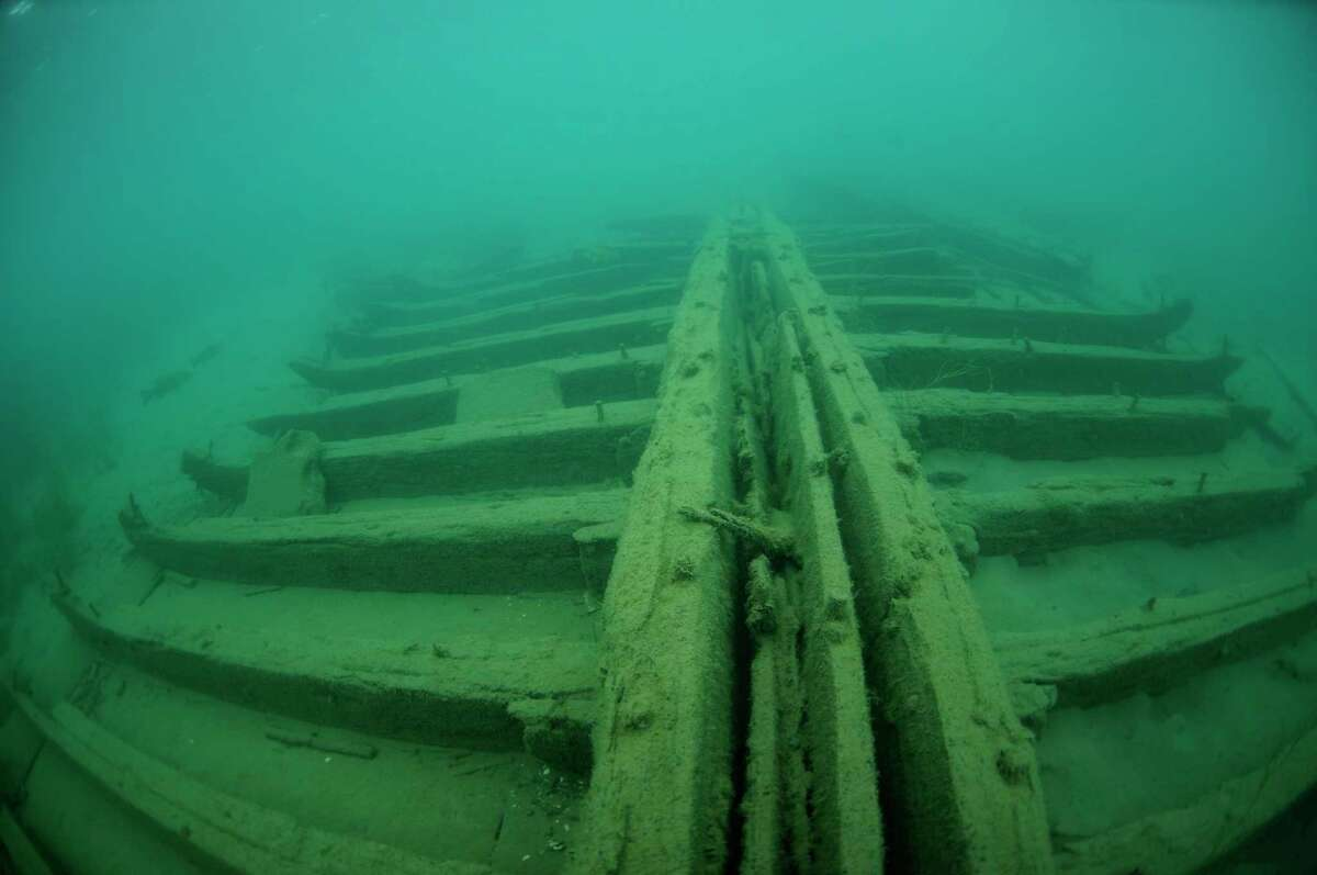 A view of the keel and ribbing of the Mackinaw boat wreckage found near Grindstone City Harbor in June. (Michigan Divers, LLC/Courtesy photo)