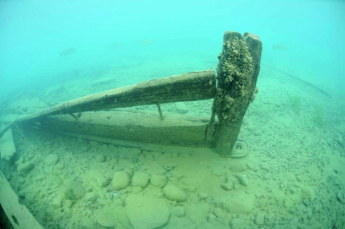 This photo shows a view of the stern of the Mackinaw boat wreckage with the rudder foot still intact. (Michigan Divers, LLC/Courtesy photo)