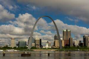St. Louis, Missouri skyline on Mississippi River from East St. Louis, Illinois. (Photo by: Visions of America/Education Images/Universal Images Group via Getty Images)