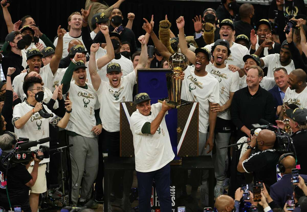 MILWAUKEE, WISCONSIN - JULY 20: Owner Marc Lasry of the Milwaukee Bucks celebrates after his team defeated the Phoenix Suns in Game Six to win the 2021 NBA Finals at Fiserv Forum on July 20, 2021 in Milwaukee, Wisconsin. NOTE TO USER: User expressly acknowledges and agrees that, by downloading and or using this photograph, User is consenting to the terms and conditions of the Getty Images License Agreement. (Photo by Jonathan Daniel/Getty Images)