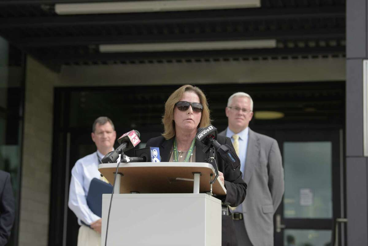 Michele French, North Warren school superintendent, speaks at a press conference outside of Queensbury High School on Wednesday, July 21, 2021, in Queensbury, N.Y. School superintendents held the press conference to say that they need the governor to release guidance on how schools will be able to operate this fall. (Paul Buckowski/Times Union)