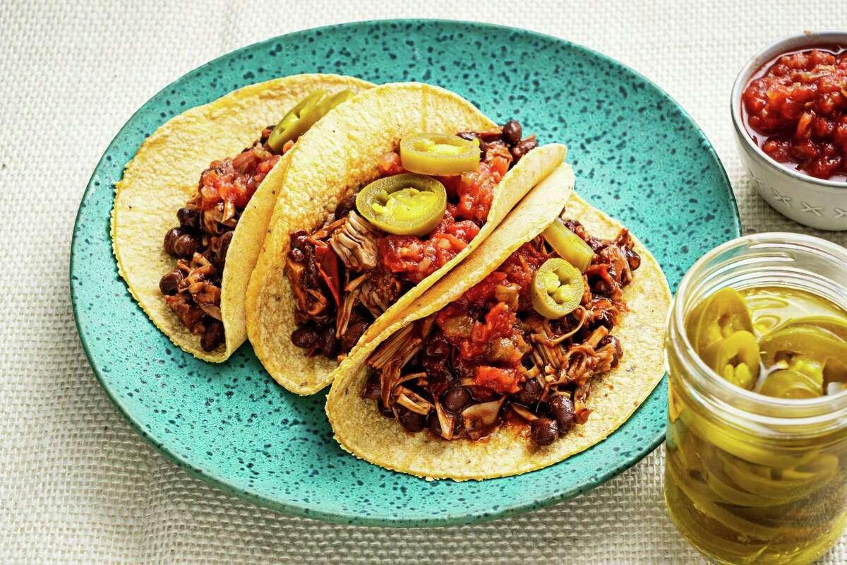Chipotle Jackfruit and Black Bean Tacos.